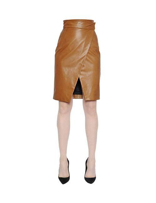 Gareth Pugh   Коричневый High Waisted Pencil Leather Skirt