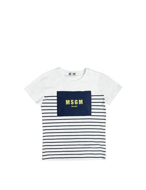 MSGM | Белый Logo Patch Cotton Jersey T-Shirt