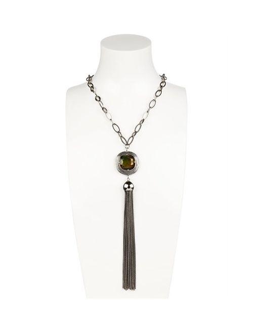 GABRIELE FRANTZEN   Серебристый Stone Tassel Necklace