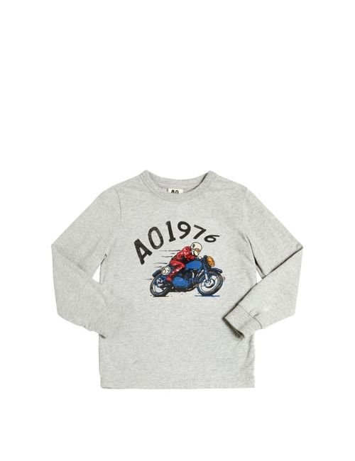 American Outfitters | Серый Moto Printed Cotton Jersey T-Shirt