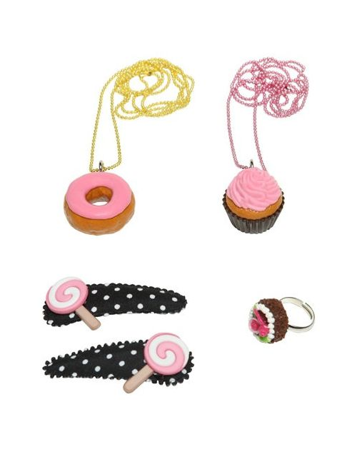 POP CUTIE | Многоцветный Cupcakes Ring Necklaces Hairclips Set