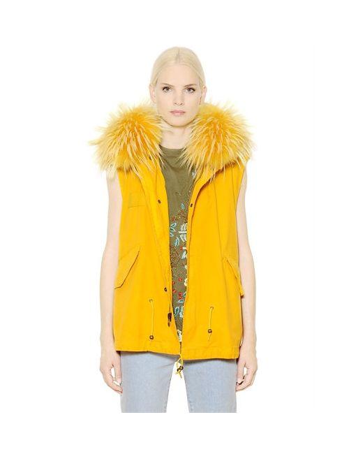 MR & MRS Italy   Желтый Cotton Canvas Vest With Murmansky Fur