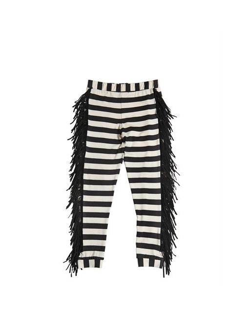 BANGBANG COPENHAGEN | Чёрный Striped Jersey Legging With Fringe