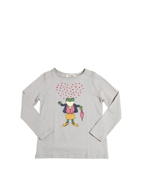 Nice Things Mini | Серый Hearts Frog Printed Cotton T-Shirt