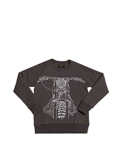 FINGER IN THE NOSE | Anthracite Motorcycle Printed Cotton Sweatshirt