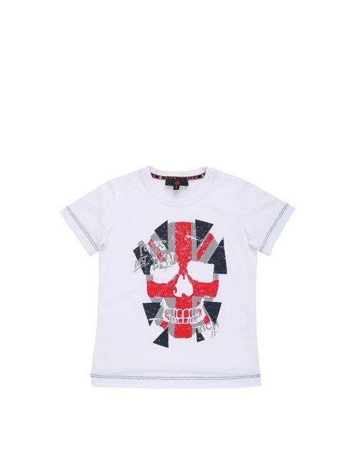 RICHMOND JUNIOR   Белый Flag Skull Printed Cotton Jersey T-Shirt