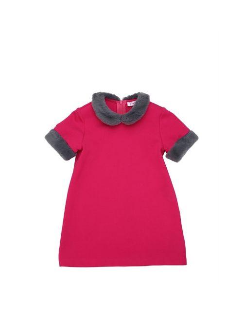 Il Gufo | Fuchsia Milano Jersey Dress W/ Faux Fur Details