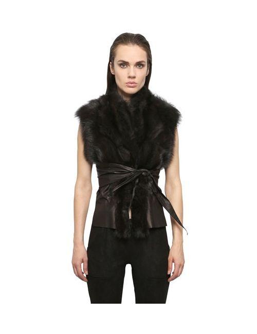 RICK OWENS HUN | Dark Shadow Kangaroo Leather Fisher Fur Wrap