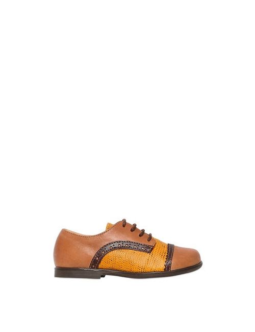 Ocra   Коричневый Leather Derby Lace-Up Shoes
