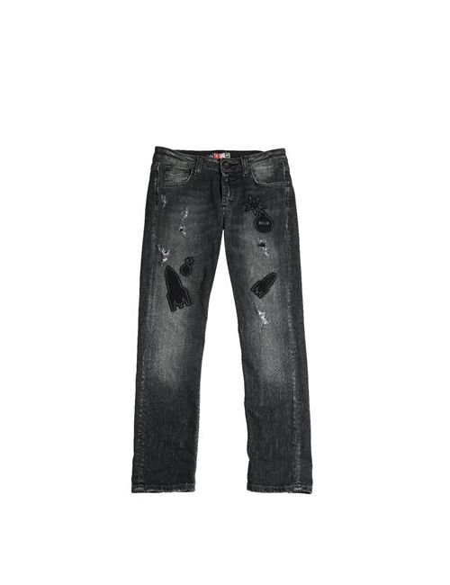 MSGM | Чёрный Felt Patch Destroyed Stretch Denim Jeans