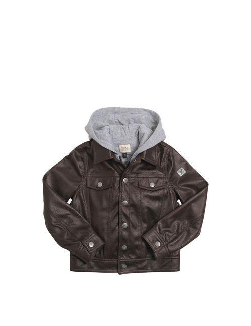 Armani Junior | Коричневый Faux Leather Cotton Interlock Jacket