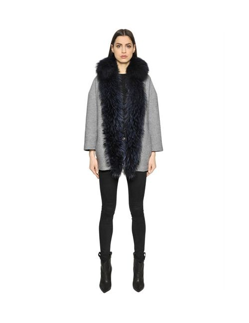 AVA ADORE   Серый Boiled Wool Coat With Murmansky Fur