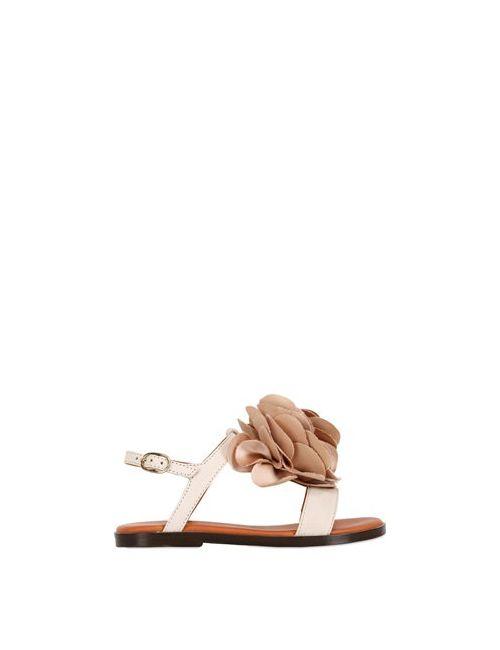 LANVIN PETITE   Cream Leather Silk Sandals