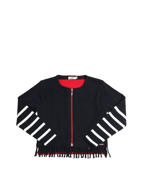Junior Gaultier | Красный Wool Felt Cotton Knit Zip-Up Sweater