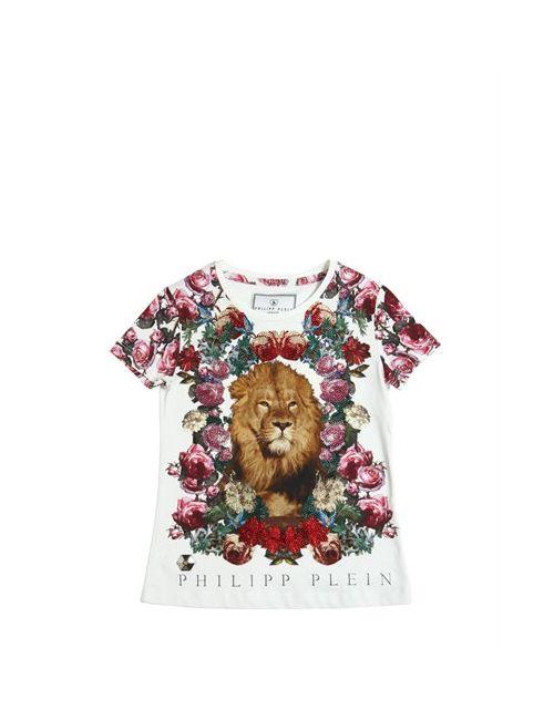 PHILIPP PLEIN JUNIOR | Белый Embellished Lion Cotton Jersey T-Shirt