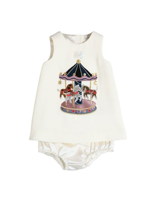 Dolce & Gabbana | Белый Carousel Wool Crepe Dress Diaper Cover