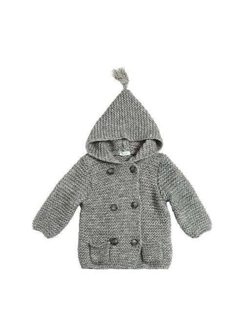 Il Gufo | Серый Hooded Wool Cotton Tricot Jacket