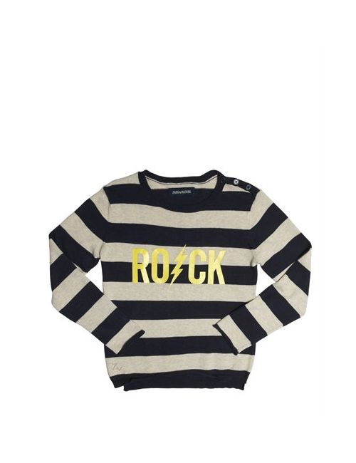 Zadig & Voltaire | Синий Striped Rock Printed Cotton Sweatshirt