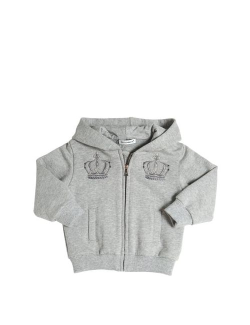 Dolce & Gabbana   Серый Hooded Embroidered Cotton Sweatshirt