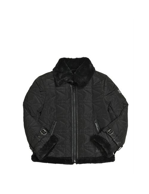 Karl Lagerfeld | Чёрный Logo Quilted Nylon Faux Fur Jacket