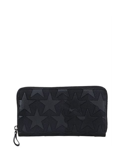 Valentino | Чёрный Leather Stars Canvas Zip Around Wallet