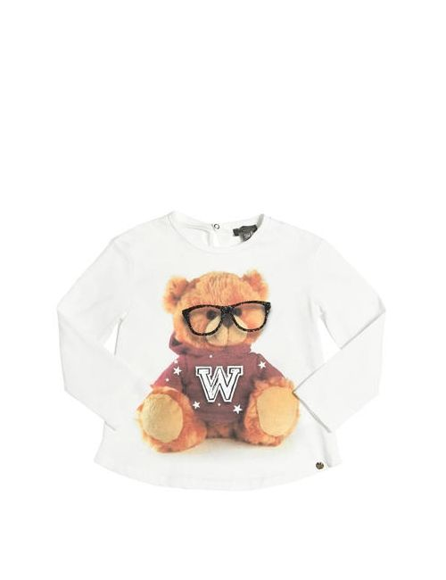 Microbe | Белый Bear Printed Cotton Jersey T-Shirt