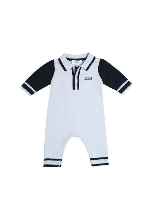 HUGO BOSS | Синий Embroidered Logo Cotton Knit Romper