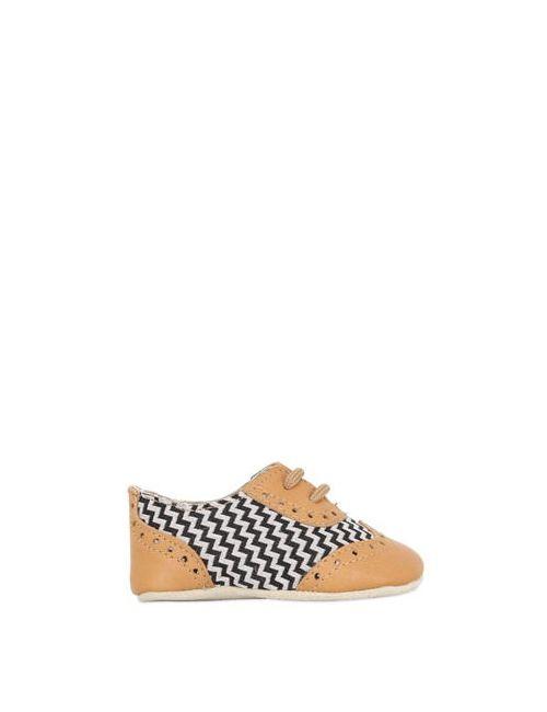SONATINA | Чёрный Nappa Zigzag Canvas Lace-Up Shoes