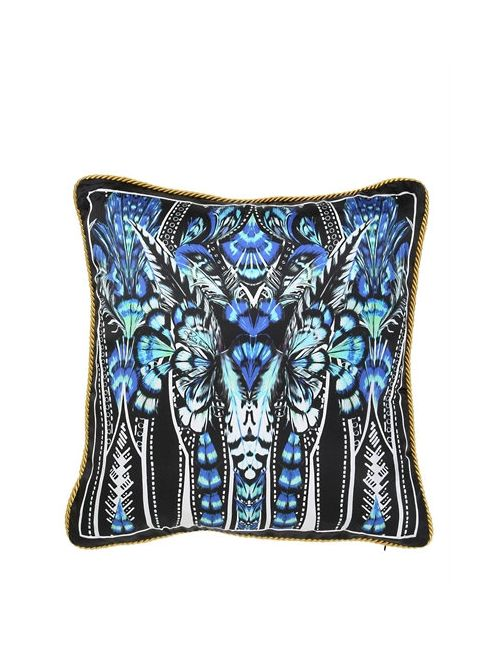 Roberto Cavalli | Синий Plumes Collection Decorative Silk Pillow