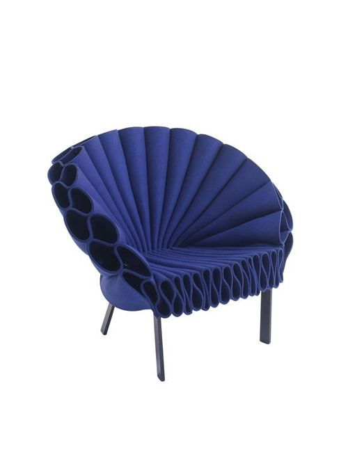 Cappellini | Синий Peacock Wool Felt Armchair