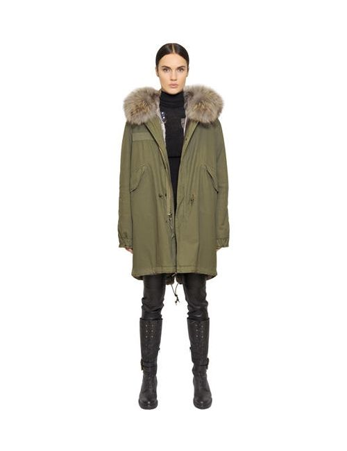 MR & MRS Italy | Серый Cotton Canvas Parka With Rabbit Fur