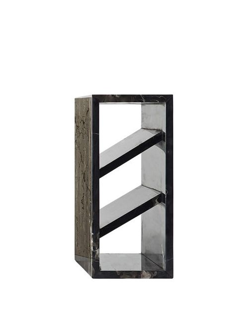 COLLECTION PARTICULIERE | Чёрный Brick Iii Marble Side Table With Rack