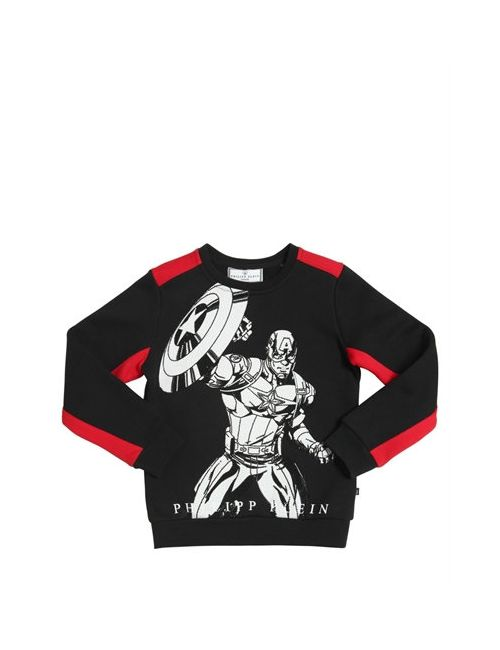 PHILIPP PLEIN JUNIOR | Чёрный Superhero Embellished Cotton Sweatshirt