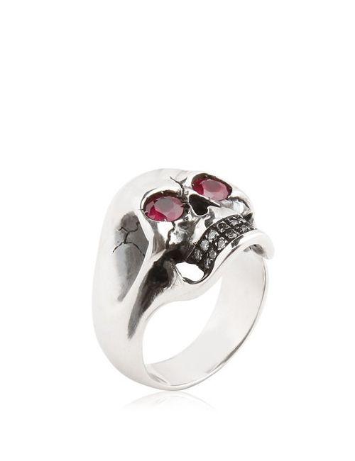MANUEL BOZZI | Серебристый Skull Ring With Rubies