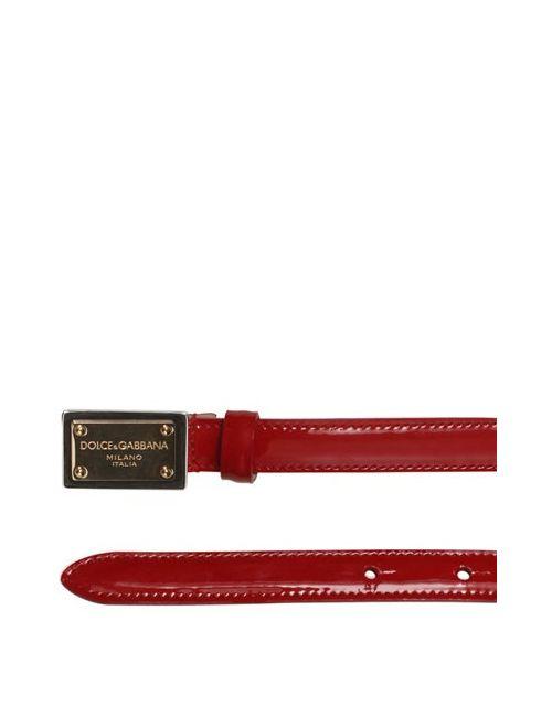 Dolce & Gabbana | Красный Patent Leather Logo Belt