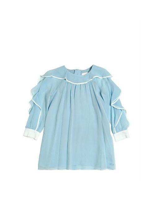Chloe | Синий Ruffled Silk Crepe Dress