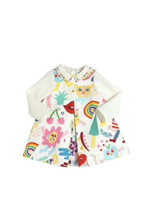 Simonetta | Белый Rainbow Print Cotton Satin Dress