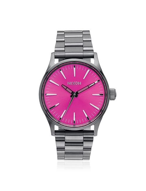 Nixon | Серый Sentry 38 Ss Watch With Pink Dial