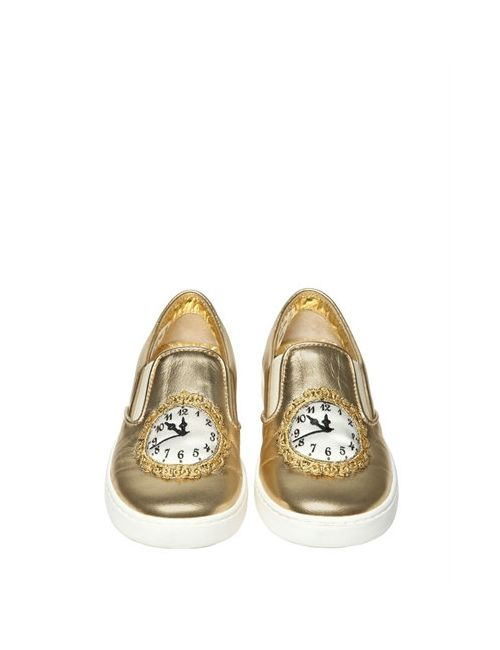 Dolce & Gabbana | Золотой Clock Nappa Leather Slip-On Sneakers
