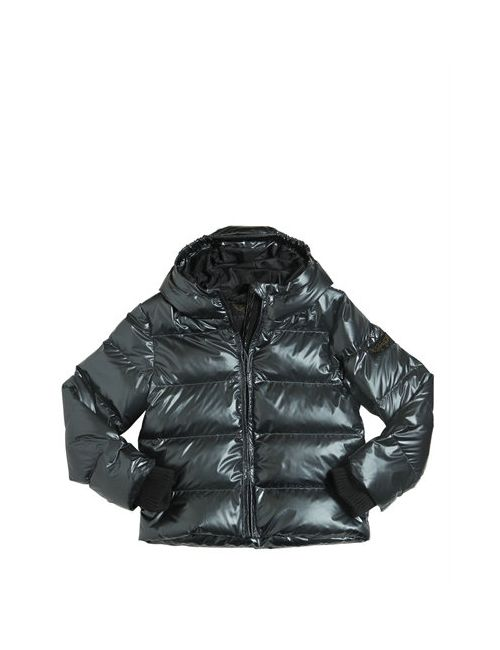 FINGER IN THE NOSE | Anthracite Metallic Printed Nylon Down Jacket