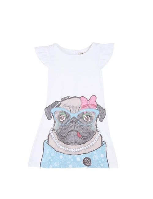 Madson Discount | Белый Pug Printed Cotton Blend Jersey Dress