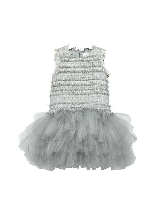 MISCHKA AOKI | Серый Tweed Soft Stretch Tulle Party Dress
