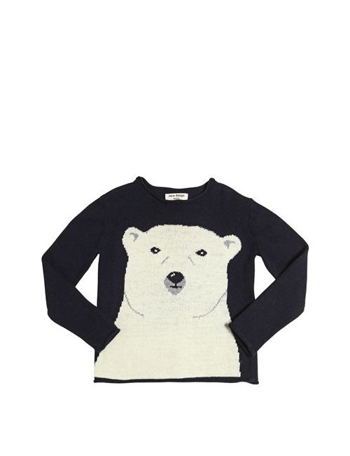 Nice Things Mini | Navy Polar Bear Wool Cashmere Blend Sweater