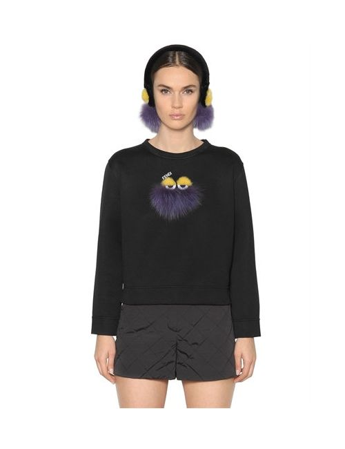 Fendi | Чёрный Fox Fur Monster Jersey Sweatshirt