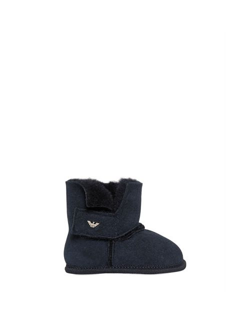 Armani Junior | Navy Suede Faux Fur Boots