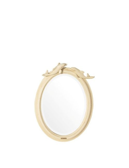 SAVIO FIRMINO | Cream Hand Carved Dolphin Mirror