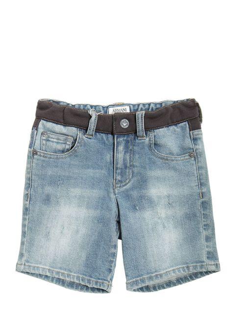 Armani Junior | Denim Washed Stretch Jersey Shorts