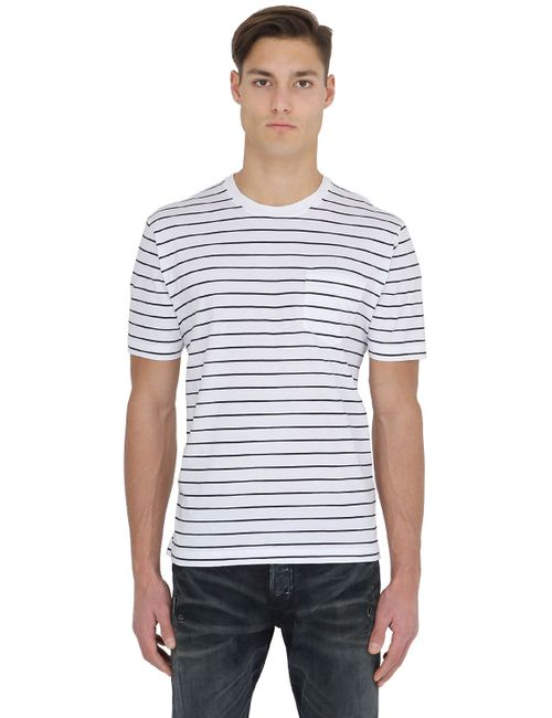Brooks Brothers | Белый Striped Cotton Jersey T-Shirt W/ Pocket