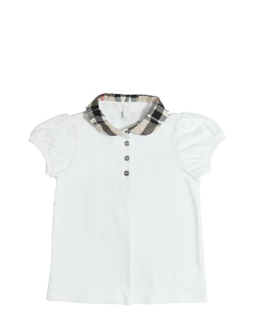 Burberry | Белый Check Collar Cotton Piqué Polo Shirt