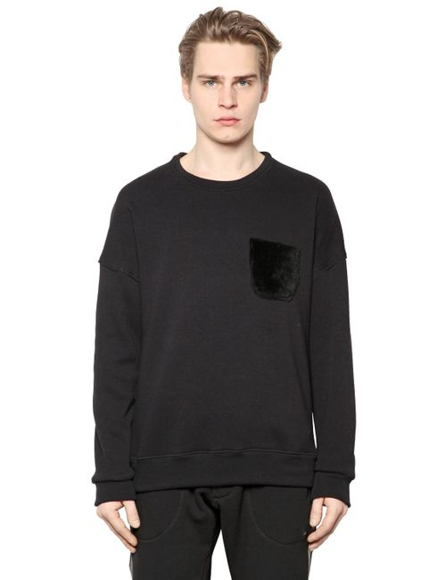 Giorgio Brato | Чёрный Shearling Pocket On Cotton Sweatshirt